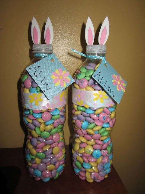 Easter Bunny Treats using water bottles and Easter M&Ms