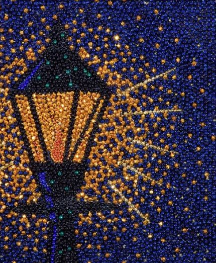 New Orleans Artist created this Mosaic by using recycled Mardi Gras beads!