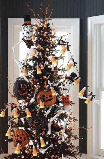 black bling tree oh my gosh lol love the idea of a halloween tree - Halloween Tree Decorations