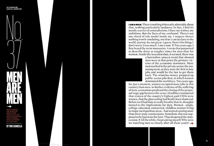 What a contrast: from the February 2012 issue of Esquire [typography + layout]