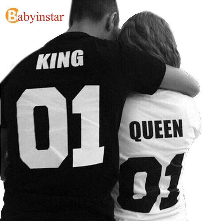 Мода пара соответствующие наряды панк хип хоп стиль король и королева печать с коротким рукавом пара устраивает семья майкакупить в магазине [ Babyinstar ] Children's StoreнаAliExpress