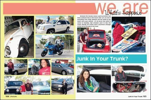 Interesting Car Spread! yearbook themes 2015 | Found on yearbooks.biz // junk in the trunk sidebar- so creative!