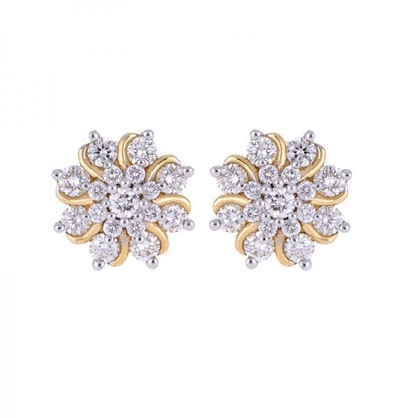 Certified #floral design #diamond #stud #earrings in 18 karat yellow gold for women and teen girls. A great everyday jewelry choice and perfect gift item for the holidays. The earrings secure with a post screw back closure with a stem thickness of 1 mm. IGI Certificate is available with the purchase. - See more at: https://www.rajjewels.com/diamond-florette-18-k-yellow-gold-stud-earring-s.html#sthash.hdYYtFes.dpuf