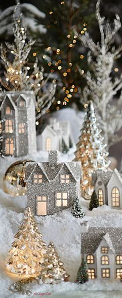 I like to see these cardstock/glitter houses ON the tree ~mgh
