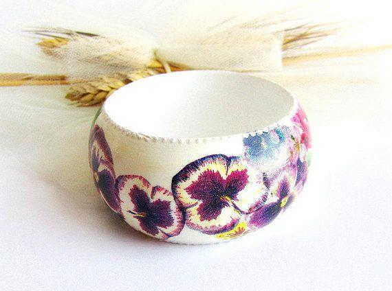 Floral bangle wood wooden bracelet handpainted wood bangle