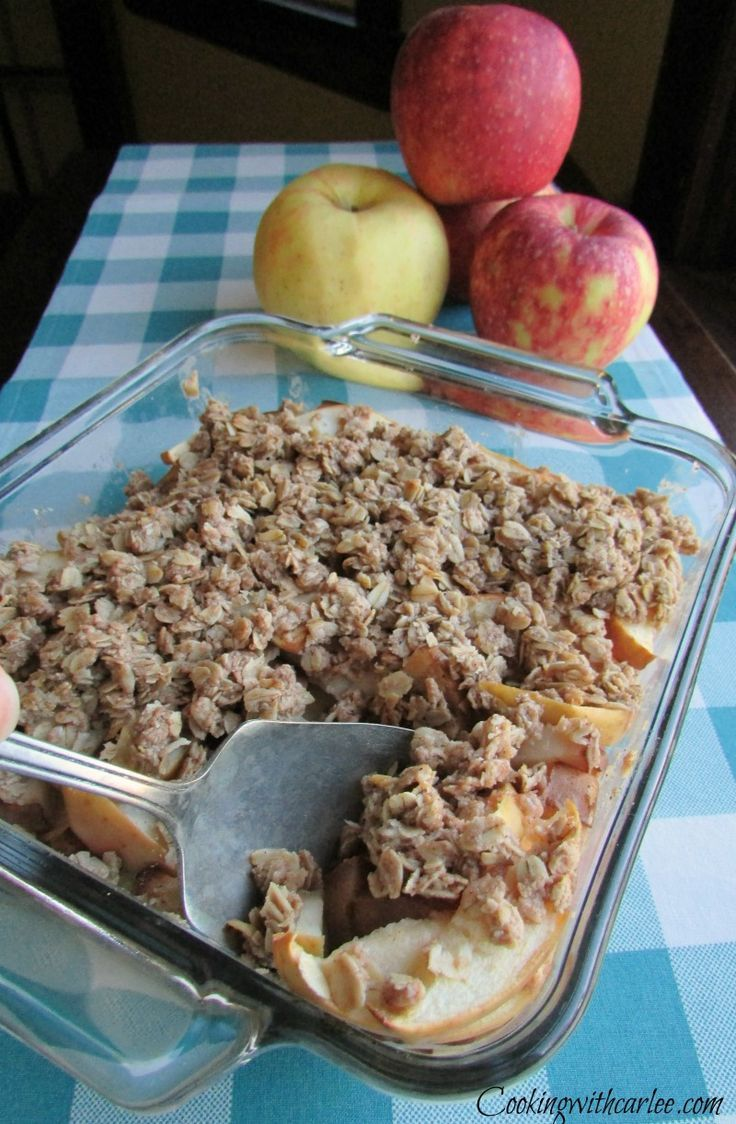 My great-grandma's recipe for apple crisp is the real deal!  Warm apples, a hint of cinnamon and toasty oatmeal topping!