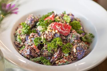 Kokako's Urenika potato and quinoa salad with capsicum aioli