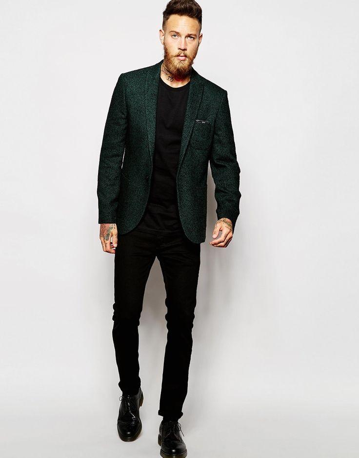 Image 4 ofASOS Super Skinny Blazer In Herringbone In Green