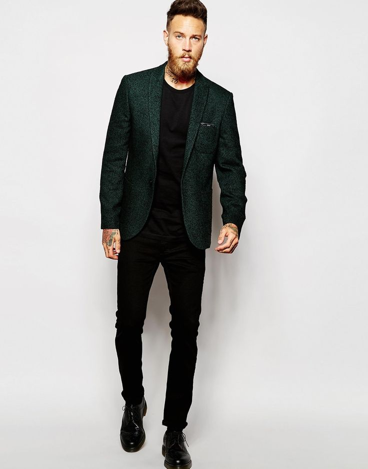Image 4 of ASOS Super Skinny Blazer In Herringbone In Green