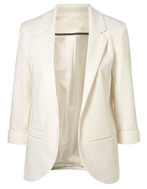 White Boyfriend Ponte Rolled Sleeves Blazer - Sheinside.com - must haves !