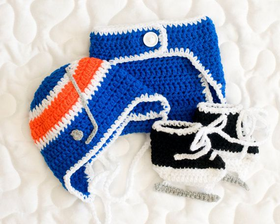 BABY HOCKEY HAT Boys Helmet Diaper Cover & Skates by Grandmabilt, $60.00