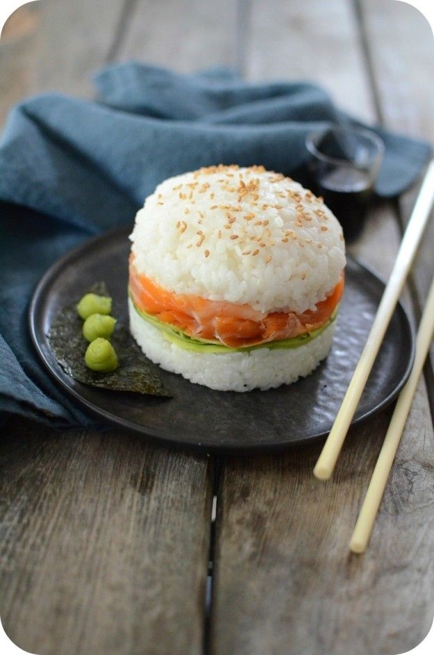 Smoked Salmon Sushi Burger | 17 Sushi-Food Hybrids That Will Blow Your Mind