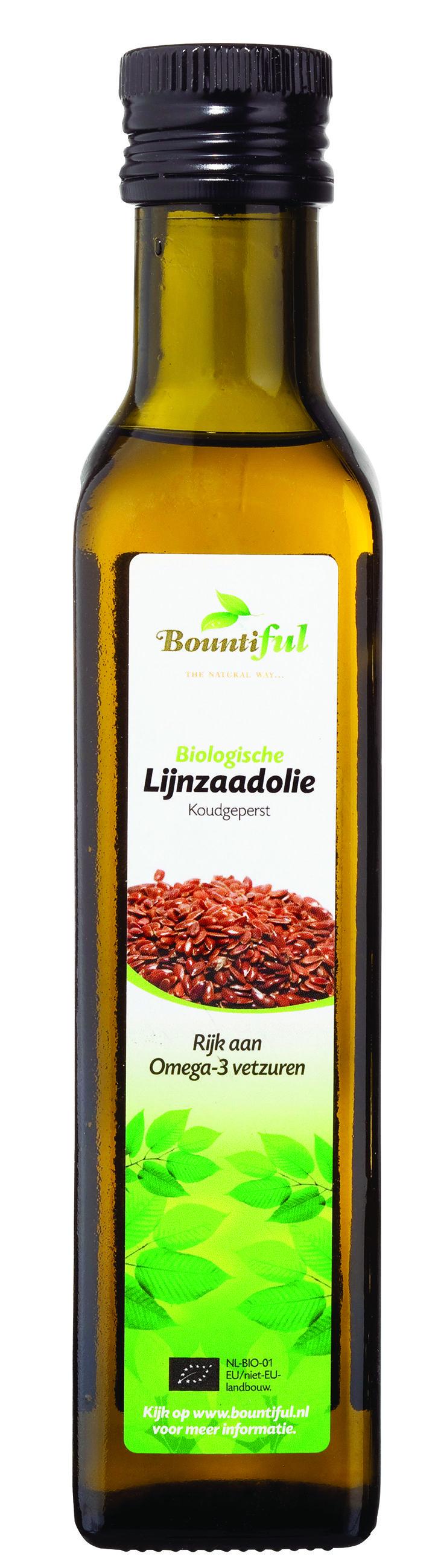 Lijnzaadolie Bio. Gebruik van Bountiful LIJNZAADOLIE kan op verschillende manieren. Bijvoorbeeld om mee te koken. Het is echter niet verstandig om in de olie te bakken of braden. Het is daar niet geschikt voor. Dit komt omdat er schadelijke stoffen vrijkomen als lijnzaadolie op hoge temperatuur verhit wordt. Andere oliën zijn dan geschikter. Wel kan lijnzaadolie heel goed gebruikt worden door bijvoorbeeld een saladedressing, saus, soep of yoghurt.