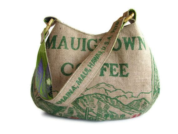 Repurposed Burlap Coffee Bag. Mauigrown Hobo Handbag and Purse. Handmade in Hawaii. Made To Order.