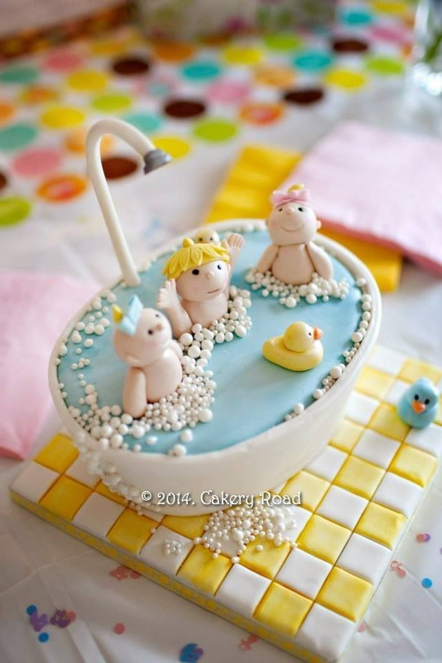A close up of the Babies in a Bath Cake