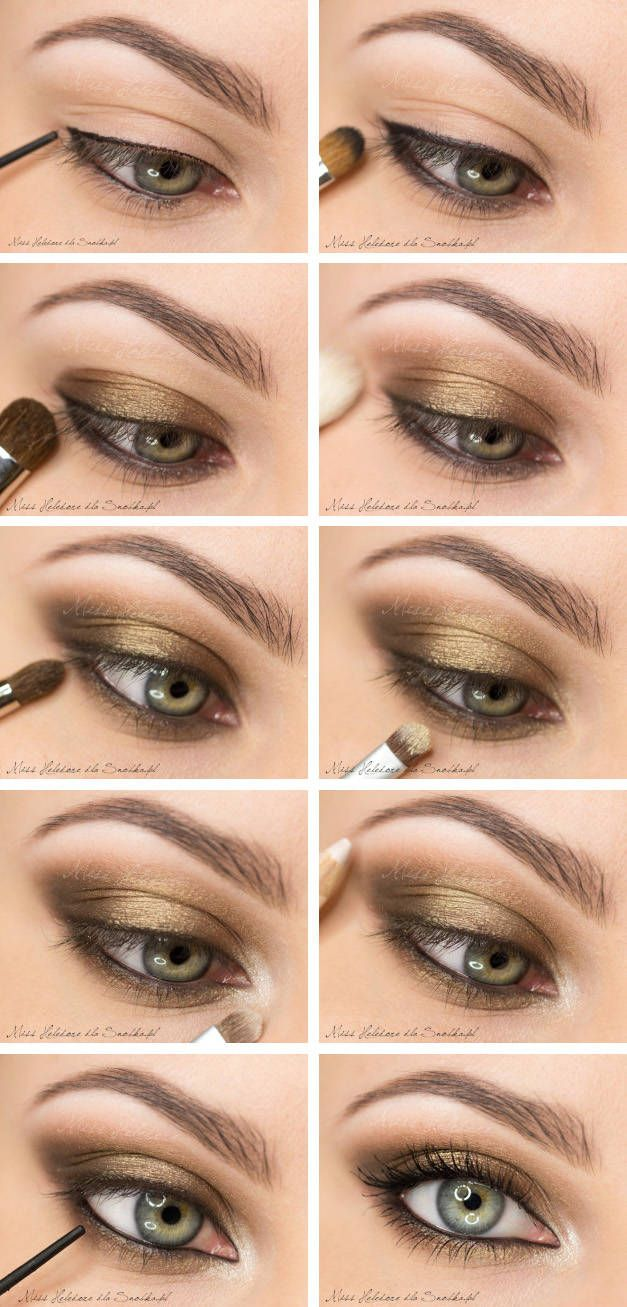 Love this look for a neutral eye with a little drama. Smoky eye with bronze/gold shadows