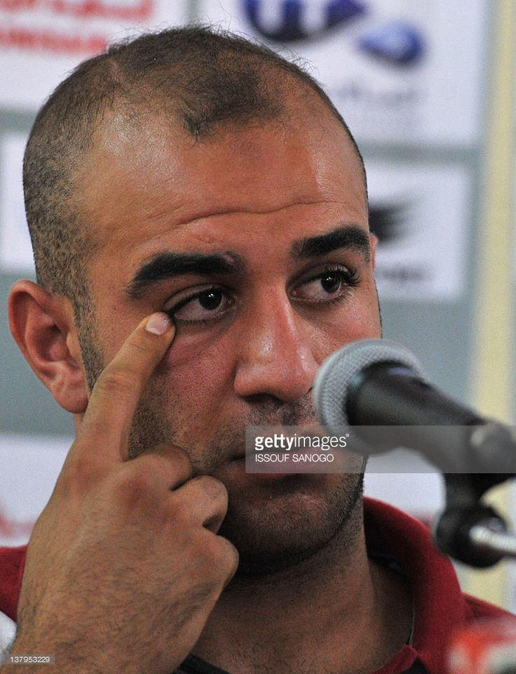Tunisia national footbal team defender Aymen Abdennour gestures during a press conference on January 30, 2012, in Libreville during the African Cup of Nations (CAN 2012) tournement.