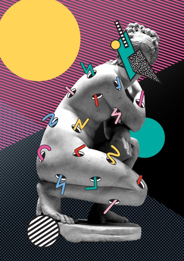 Inner Thoughts Statue Memphis Collage 2 Art Print, Inner Thoughts Statue Memphis Collage 1, statue, memphis, design, graphic, collage, color, colour, memphismilano, memphisdesign, postmodern, 80s, 90s, classical, thoughts, socrates, grid, classical, geometric, geo, modern, rapsquat, society6