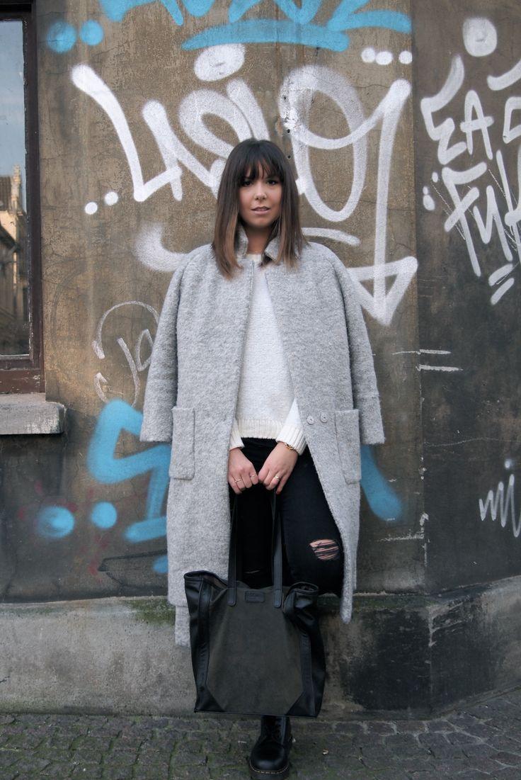 #winteroutfit #Ganni #wrapcoat #oversizecoat #DrMartens #rippedjeans - Greta's Drawer x Beliya - Happiness Shopper