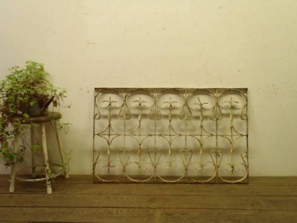 a646【H62×W101】 アンティークのアイアンフェンス 検ゲート インテリア 雑貨 家具 Antique iron gate ¥9500yen 〆05月01日