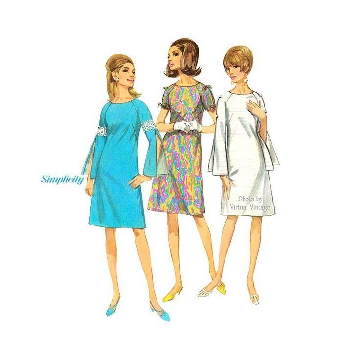 Mod Split Sleeve Shift Dress Pattern, Simplicity 7006, 1960's Vintage Sewing Patterns, Uncut
