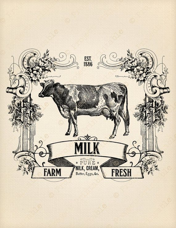 Instant Download Kitchen Printable Farm Dairy Fresh Milk Sign Cow Digital Fabric Image Transfer to print