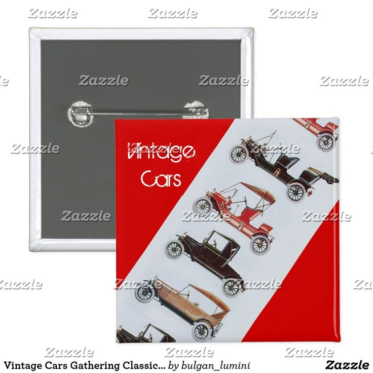 Vintage Cars Gathering Classic Automotive Red Grey Pinback Button  #classiccars #retro #auto #cars #vintage #gathering