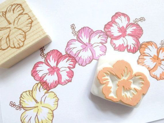 These are hibiscus rubber stamps set of 2. One is hibiscus shape part, and the other is color part. (My products are not including ink
