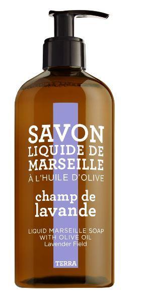 Savon Liquide de Marseille Lavendel  Samenstelling: Elegante en aromatische geur van lavendel, framboos, roos, lelie van de vallei, muskus en vanille.  Een rijk schuimende zeep maakt de huid soepel en droogt  de huid niet uit niet. Geschikt voor ieder huidtype. http://www.o-lijf.com/a-38333163/compagnie-de-provence/savon-liquide-de-marseille-lavendel/