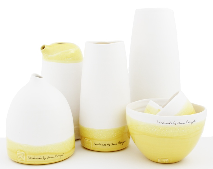 Ceramic yellow dipped homewares by Anne Ronjat...find it at silkstonewood