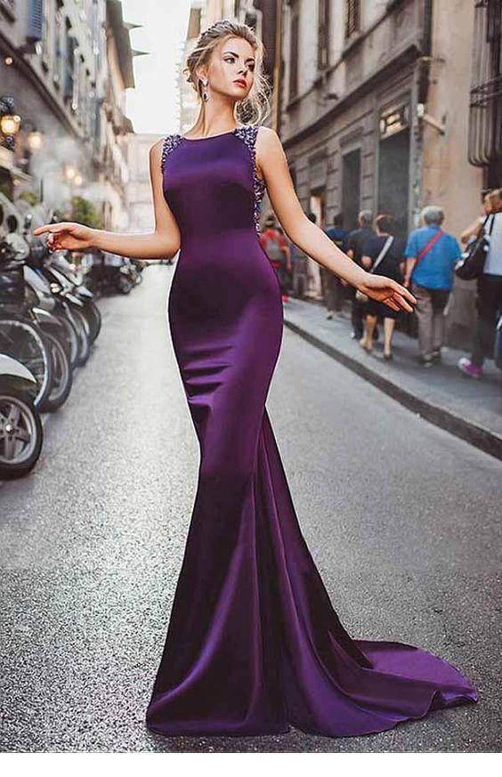 dc0e21e6679 A long purple simple dress design in 2019
