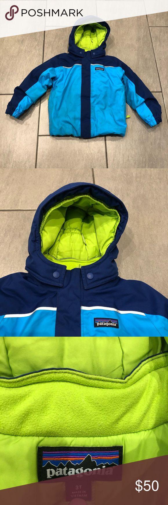 Patagonia Boys Puffer Jacket Hoodie Blue Green in 2020