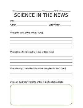 Science in the News Template -Students use this template to summarize the article that they have read.