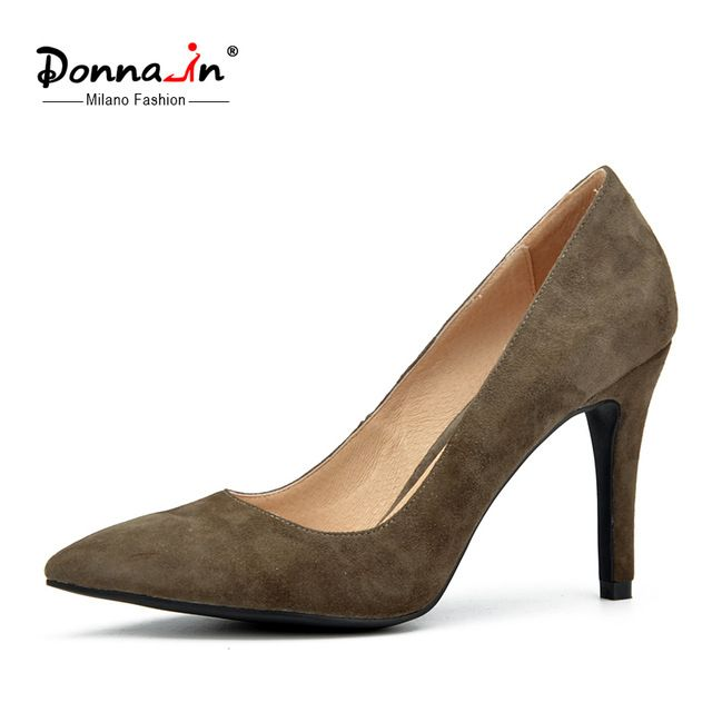 New collections thin and high heel pumps sheep suede genuine leather ladies shoes pointed toe women's pumps from Reliable shoes for men with big feet suppliers on Donna-in Official Store