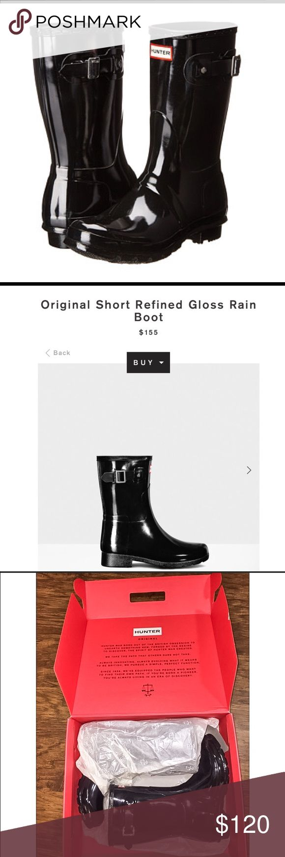 Hunter Boots. Original short Hunter Original Short Gloss Wellies Gloss finish New refined silhouette Slim leg fit Handcrafted Waterproof Thinner rubber Molded footbed. Never worn. In original box. Hunter Boots Shoes Winter & Rain Boots