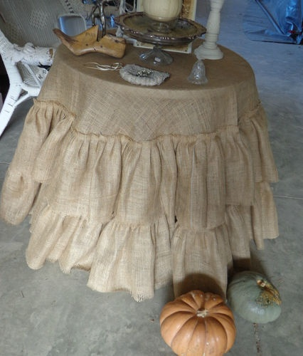 Rustic Round Ruffled Burlap Table Cover Tablecloth Natural