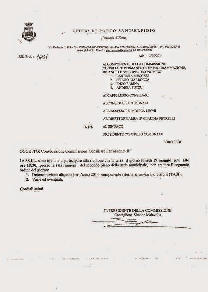 Movimento 5 Stelle Porto Sant'Elpidio: Convocazione Commissione Bilancio