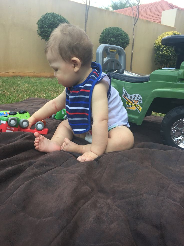 A real little boy he loves cars and the jeep Nan & Grandpa bought him