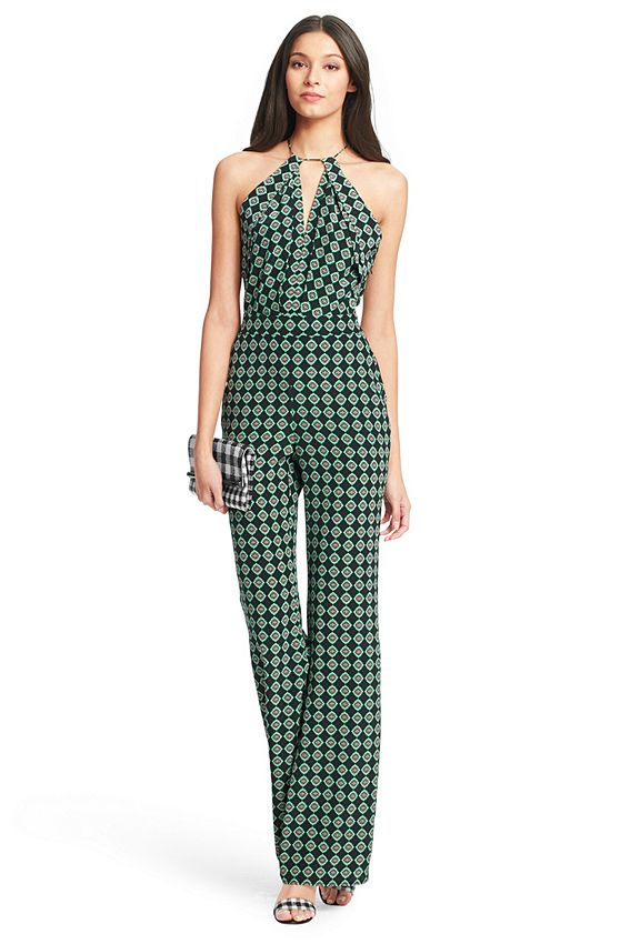 #DVF #Spring2015 | The Ireland jumpsuit is a chic and unexpected cocktail look. With a dramatic keyhole neckline and open back with tie detail. Pockets. Side zip. Full length. Fit is true to size.
