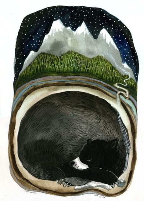 Diana Sudyka's bear under a mountain - Animalarium: Sunday Safari - Night Life