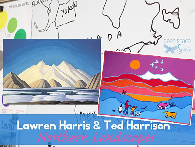 Norther landscape Art Lesson for Kids featuring the art of Canadian artists Lawren Harris and Ted Harrison