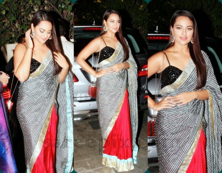 Sonakshi sinha in Masaba gupta saree at Bachchan's diwali bash 2014