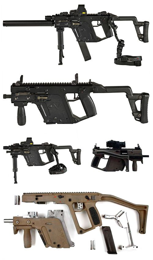 TDI Kriss Super V™ submachine gun : Vector CRB/SO with EOTech holographic sight and silencer (top) // Vector SRB/SO (2nd) // Vector SMG .45 ACP (3rd left) // Vector SRB/SO with optics and folded stock (3rd right) // Vector SRB/SO prototype takedown (last)