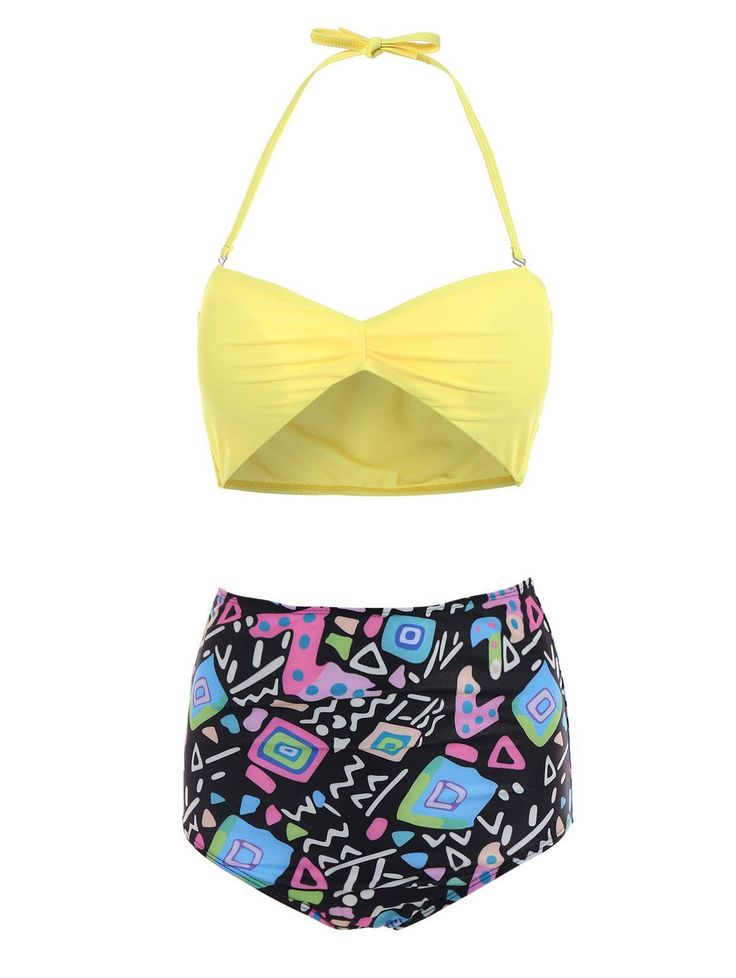 Yellow Bra and Printed High Waist Briefs Tankini. title: Product Details   Gender: For Women   Material: Polyester   Bra Style: Padded   Support Type: Wire Free   Pattern Type: Print   Swimwear Type: Tankini   Waist: High Waisted   Elasticity: Micro-elastic   Weight: 0.160KG    Package Contents:   1 x Bra 1 x Briefs