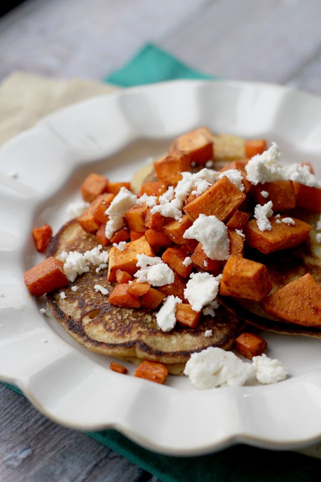savory chickpea pancakes with spicy roasted carrots, sweet potatoes ...