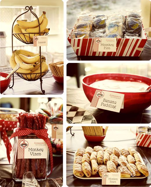 Sock monkey party food - printable buffet cards from Chickabug.com