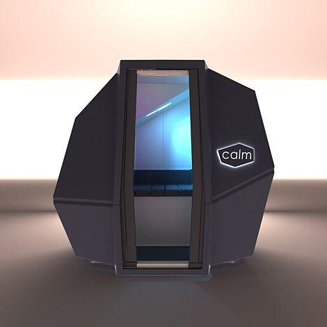 Haworth a présenté à Orgatec 20012 cette capsule futuriste, signée par la designer Marie-Virginie Berbet. Destinée à offrir aux employés 10 à 20 minutes de sieste dans une atmosphère feutrée et confortable, CalmSpace est équipé d'un système de préréglage du son et de la lumière qui permet de programmer un réveil en douceur.