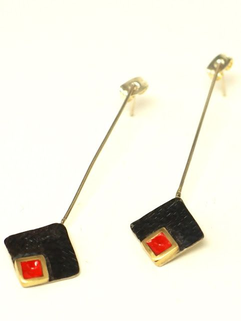 so lucky by Angeliki: german silver oxidized enamel earrings!