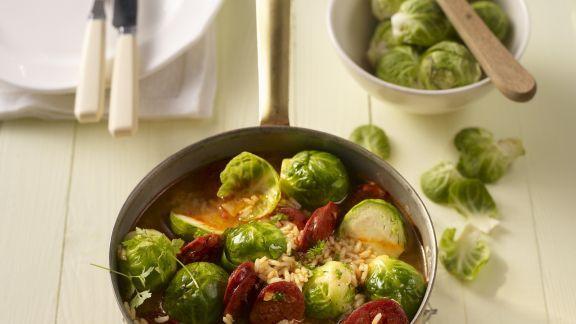Rezept: Rosenkohl-Reis-Topf mit Chorizo
