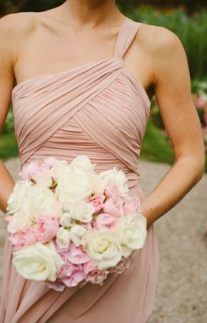 Blushing Bridesmaid Dresses. I love the design of the top of this dress